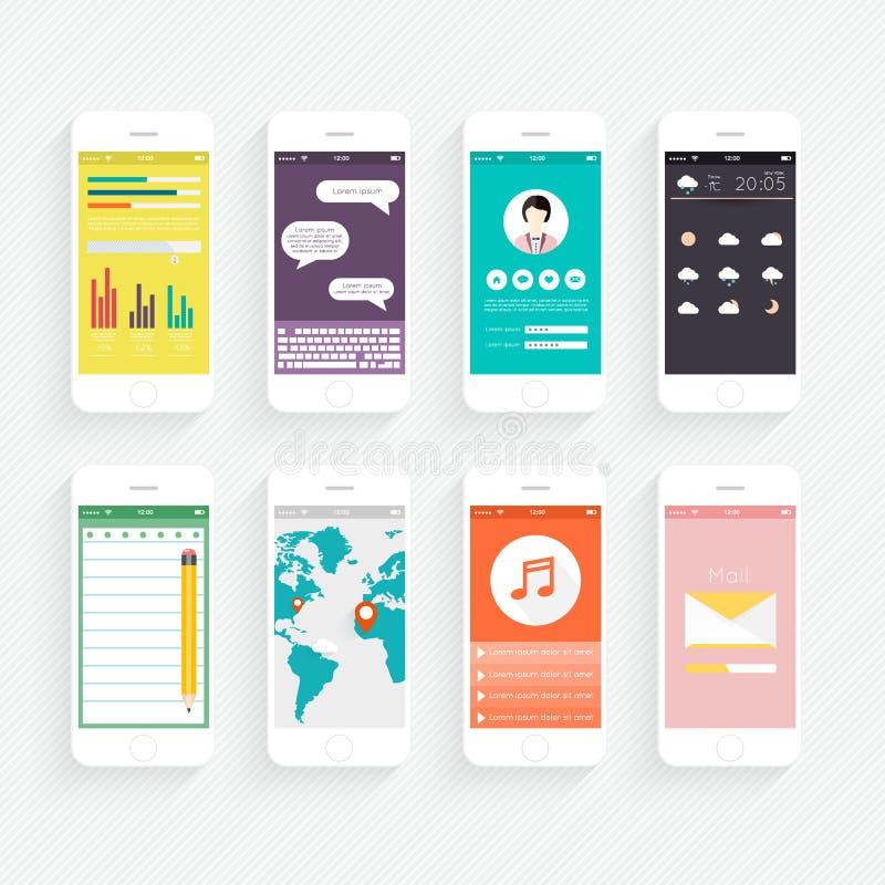 Διανυσματική συλλογή των κινητών τηλεφώνων διανυσματική απεικόνιση