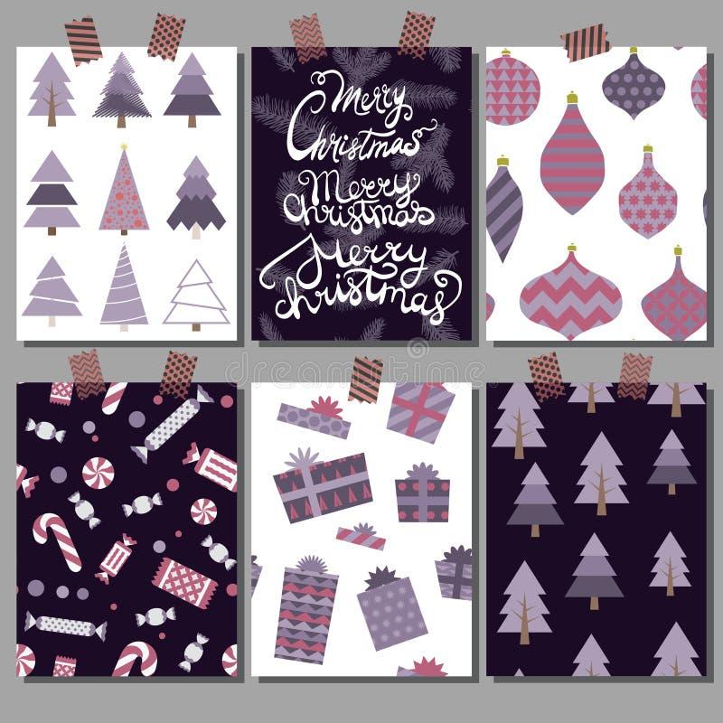 Διανυσματική συλλογή των προτύπων αφισών Χριστουγέννων Καθορισμένες ευχετήριες κάρτες Φωτεινά χρώματα στοκ εικόνες