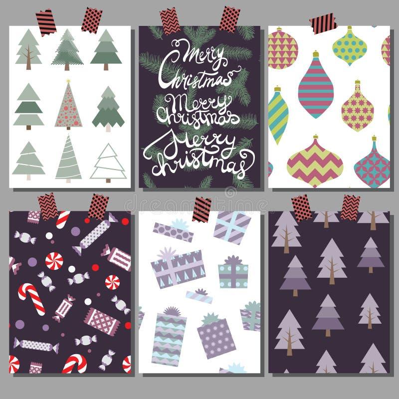 Διανυσματική συλλογή των προτύπων αφισών Χριστουγέννων Καθορισμένες ευχετήριες κάρτες Φωτεινά χρώματα στοκ εικόνα