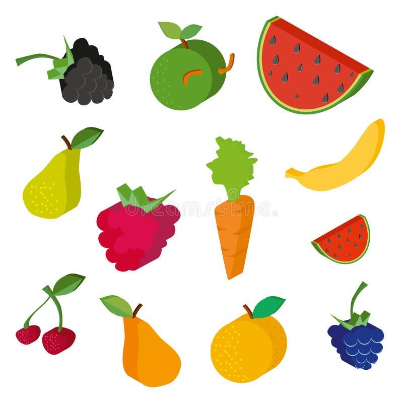 Διανυσματική συλλογή των φρούτων και των μούρων απεικόνιση αποθεμάτων