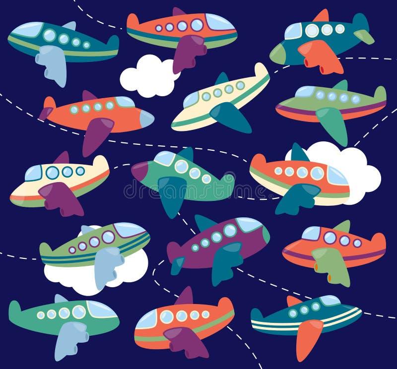 Διανυσματική συλλογή των χαριτωμένων αεροπλάνων ή των παιχνιδιών αεροπλάνων ελεύθερη απεικόνιση δικαιώματος