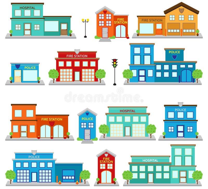 Διανυσματική συλλογή των χαριτωμένων κτηρίων πυροσβεστικών σταθμών, των νοσοκομείων και των κλινικών, και των αστυνομικών τμημάτω ελεύθερη απεικόνιση δικαιώματος