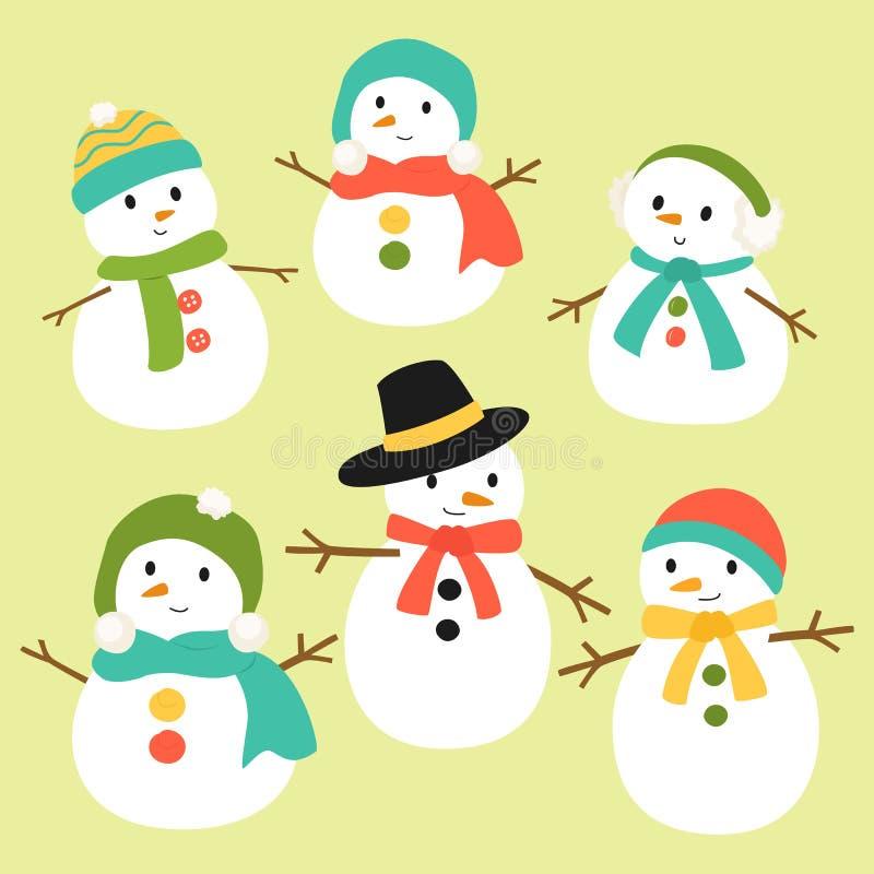Διανυσματική συλλογή χιονανθρώπων απεικόνιση αποθεμάτων