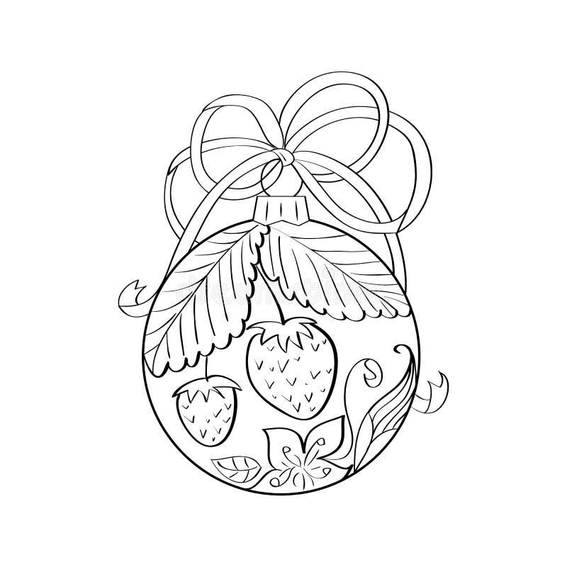 Διανυσματική σφαίρα Χριστουγέννων με το εσωτερικό θερινών διακοσμήσεων - φράουλα και λουλούδια Χρωματίζοντας σελίδα για τον ενήλι διανυσματική απεικόνιση