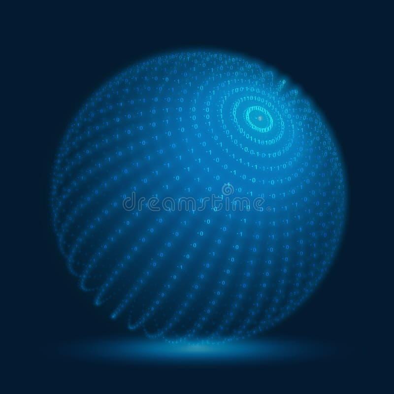 Διανυσματική σφαίρα cyber Μπλε μεγάλη σφαίρα στοιχείων με τις δυαδικές σειρές αριθμών Αντιπροσώπευση δομών κώδικα πληροφοριών ελεύθερη απεικόνιση δικαιώματος