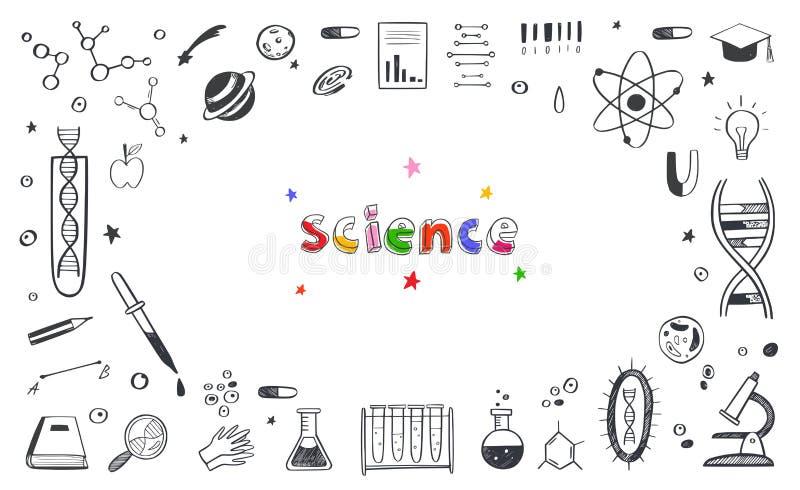 Διανυσματική σχεδίαση Πλαίσιο σκίτσου Επιστήμης και Εκπαίδευσης DNA, Βιολογία, Αστρονομία και άλλα ελεύθερη απεικόνιση δικαιώματος