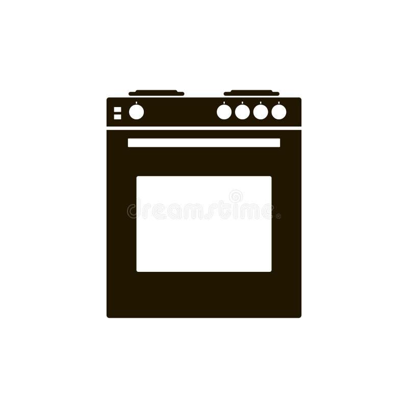 Διανυσματική σόμπα αερίου εικονιδίων με το φούρνο για μια κουζίνα Μαύρη κουζίνα στο W ελεύθερη απεικόνιση δικαιώματος