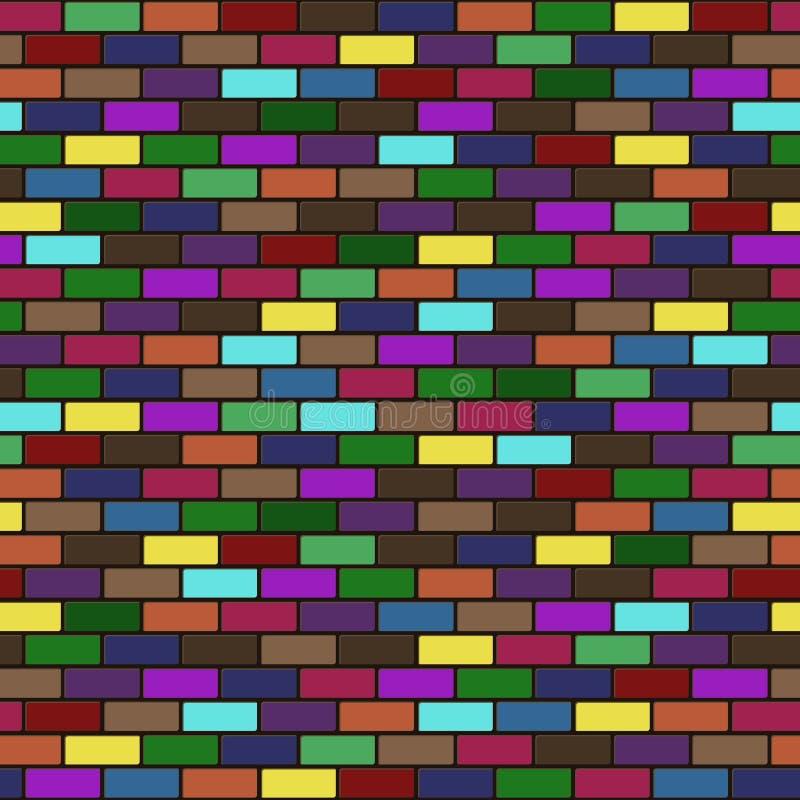 Διανυσματική σύγχρονη άνευ ραφής ζωηρόχρωμη σύσταση υποβάθρου τουβλότοιχος διανυσματική απεικόνιση