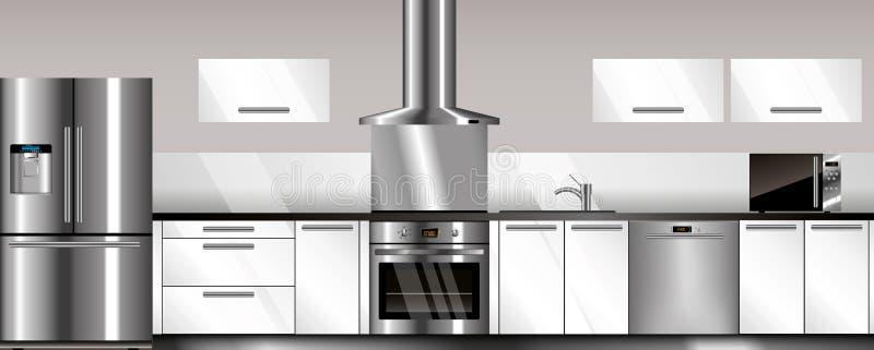 Διανυσματική σύγχρονη κουζίνα απεικόνιση αποθεμάτων