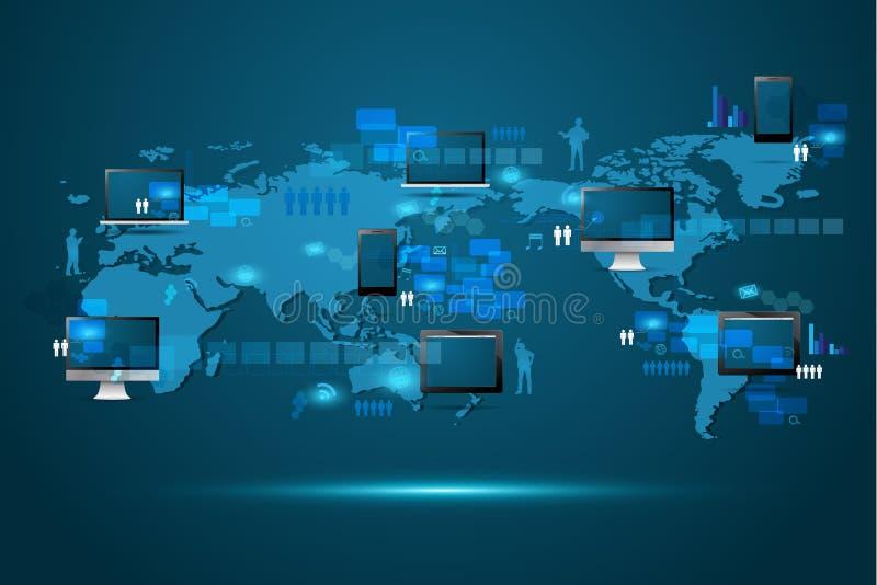 Διανυσματική σύγχρονη σφαιρική έννοια επιχειρησιακής τεχνολογίας διανυσματική απεικόνιση