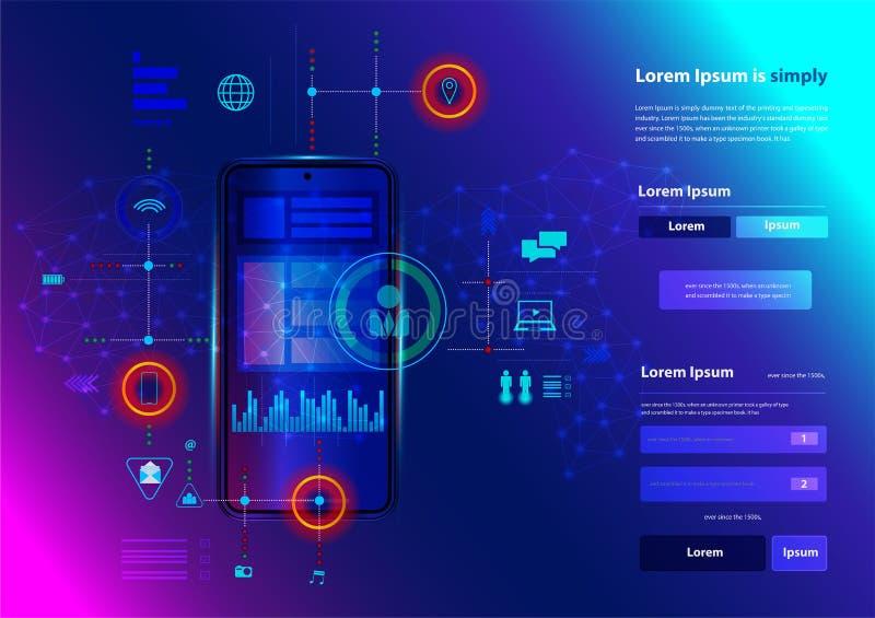 Διανυσματική σύγχρονη τεχνολογία τηλεφωνικής καινοτομίας δικτύωσης έξυπνη ελεύθερη απεικόνιση δικαιώματος