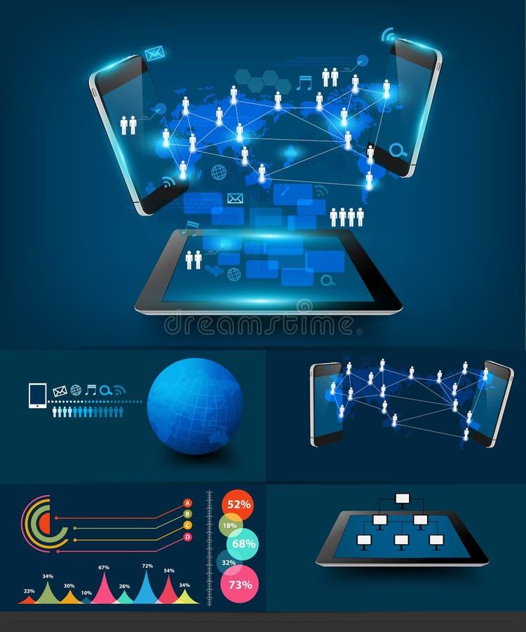 Διανυσματική σύγχρονη COM επιχειρησιακής τεχνολογίας infographics