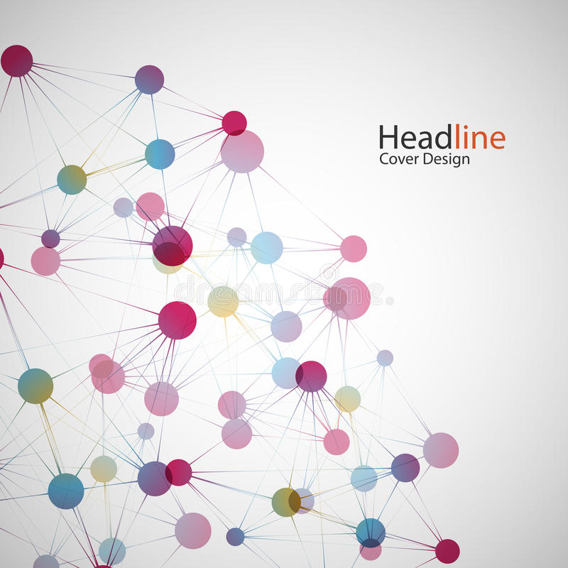 Διανυσματική σύνδεση δικτύων χρώματος και άτομο DNA διανυσματική απεικόνιση