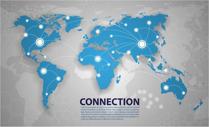 Διανυσματική σύνδεση παγκόσμιων χαρτών απεικόνιση αποθεμάτων