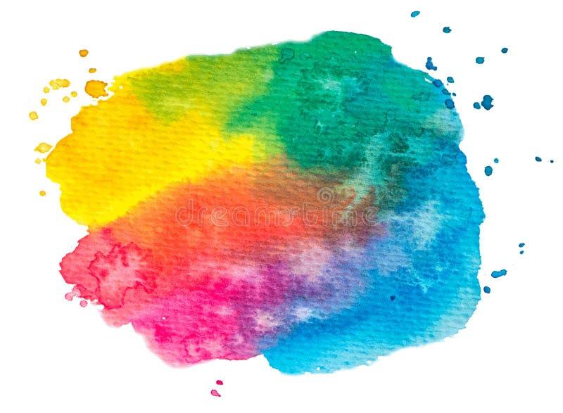 Διανυσματική σύσταση χρωμάτων ουράνιων τόξων που απομονώνεται στο λευκό - έμβλημα watercolor για το σχέδιό σας ελεύθερη απεικόνιση δικαιώματος