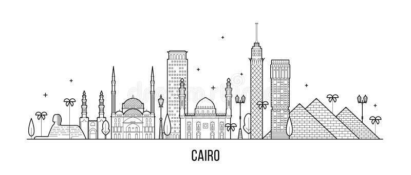 Διανυσματική τέχνη γραμμών κτηρίων πόλεων της Αιγύπτου οριζόντων του Καίρου διανυσματική απεικόνιση