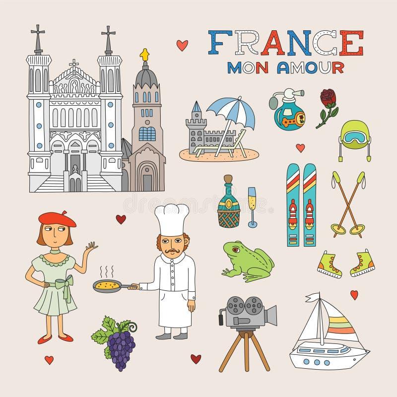 Διανυσματική τέχνη της Γαλλίας Doodle για το ταξίδι και τον τουρισμό απεικόνιση αποθεμάτων