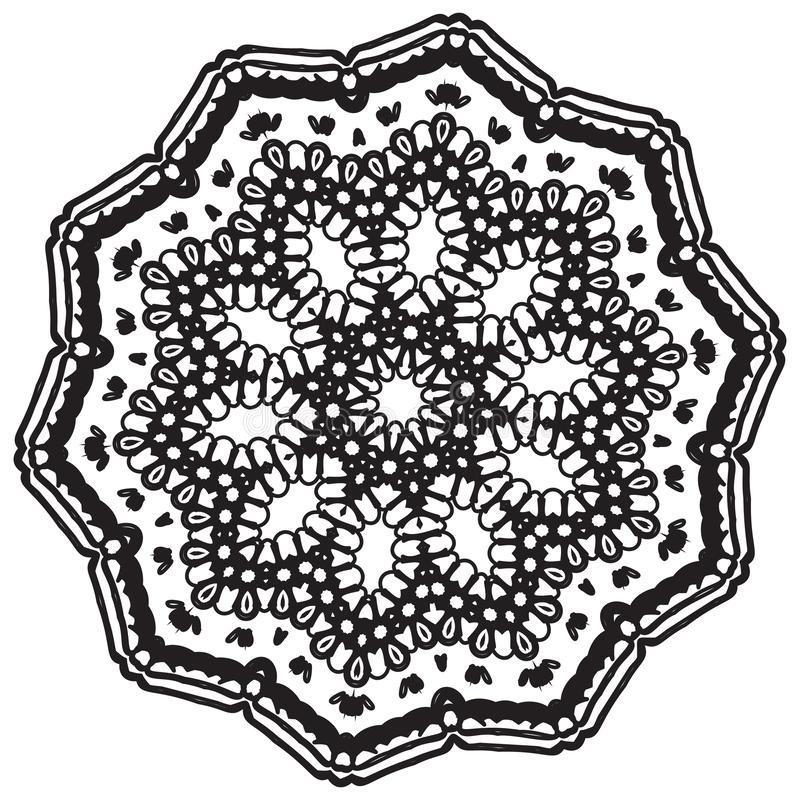 Διανυσματική τέχνη Mandala, διαμορφωμένα λουλούδια ελεύθερη απεικόνιση δικαιώματος