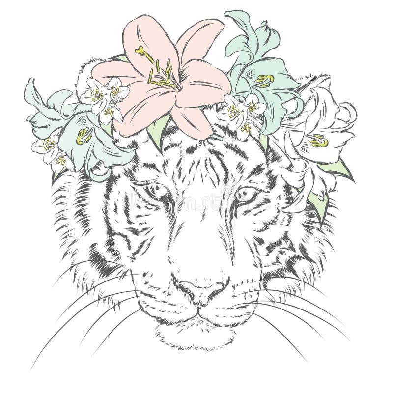 Διανυσματική τίγρη watercolor διανυσματική απεικόνιση
