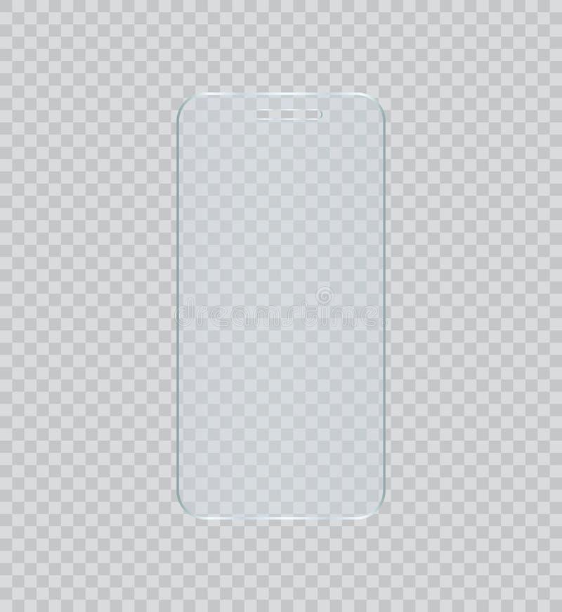 Διανυσματική ταινία προστάτη οθόνης ή κάλυψη γυαλιού Η οθόνη προστατεύει το γυαλί διανυσματική απεικόνιση