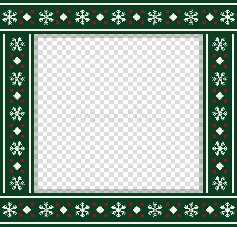 Διανυσματική τετραγωνική οριοθέτηση Χριστουγέννων, πλαίσιο φωτογραφιών, scrapbooking στοιχείο, διάστημα αντιγράφων διανυσματική απεικόνιση