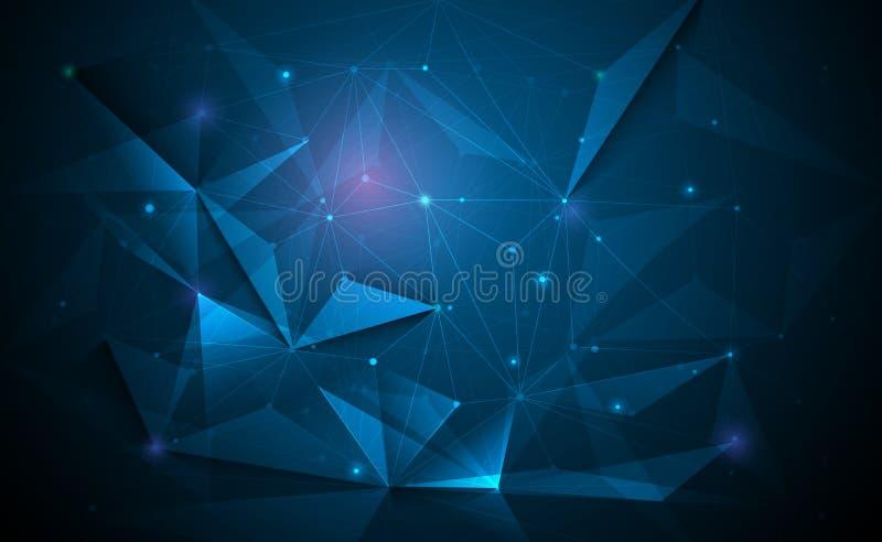 Διανυσματική τρισδιάστατη απεικόνιση γεωμετρική, πολύγωνο, γραμμή, μορφή σχεδίων τριγώνων με τη δομή μορίων απεικόνιση αποθεμάτων