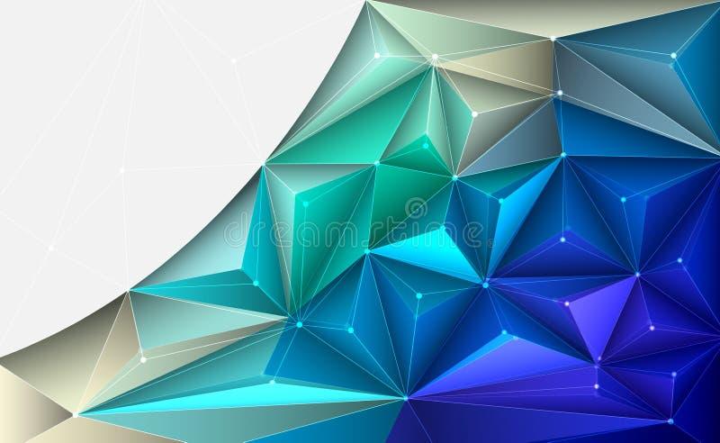 Διανυσματική τρισδιάστατη απεικόνιση γεωμετρική, πολύγωνο, γραμμή, μορφή σχεδίων τριγώνων με τη δομή μορίων ελεύθερη απεικόνιση δικαιώματος