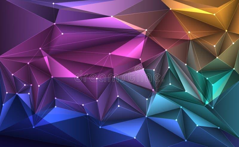 Διανυσματική τρισδιάστατη απεικόνιση γεωμετρική, πολύγωνο, γραμμή, σχέδιο τριγώνων ελεύθερη απεικόνιση δικαιώματος