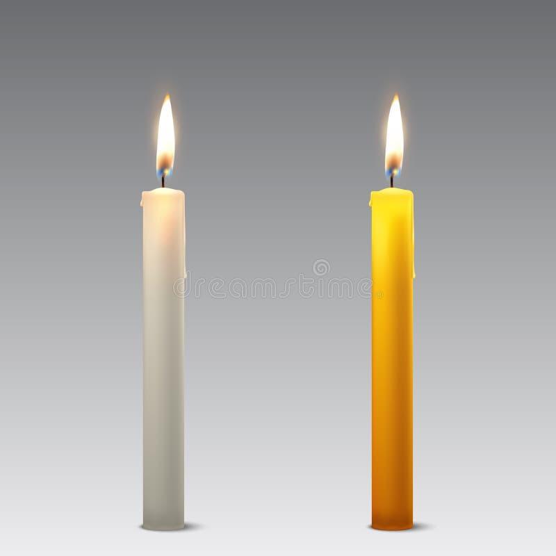 Διανυσματική τρισδιάστατη ρεαλιστική άσπρη και πορτοκαλιά καθορισμένη κινηματογράφηση σε πρώτο πλάνο εικονιδίων κεριών κομμάτων π απεικόνιση αποθεμάτων