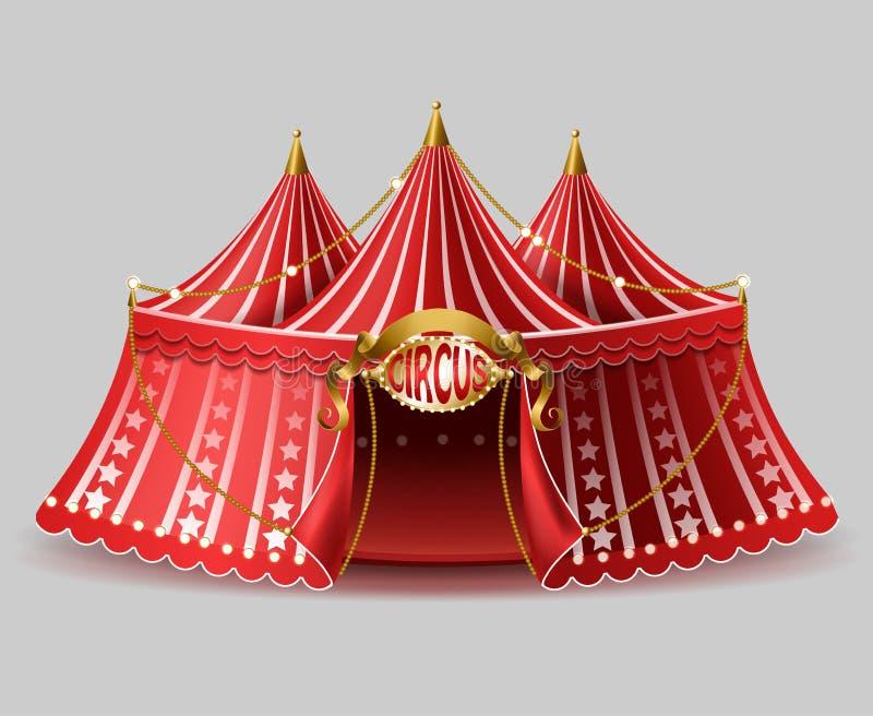 Διανυσματική τρισδιάστατη ρεαλιστική σκηνή τσίρκων με την πινακίδα ελεύθερη απεικόνιση δικαιώματος