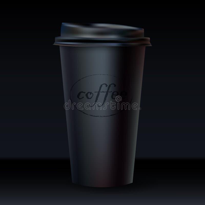 Διανυσματική τρισδιάστατη ρεαλιστική σκοτεινή κούπα που απομονώνεται στο μαύρο υπόβαθρο απεικόνιση αποθεμάτων