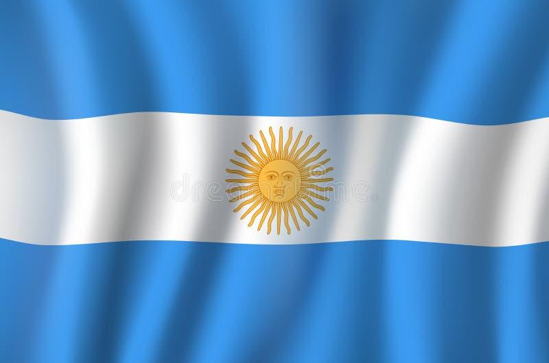Διανυσματική τρισδιάστατη σημαία του εθνικού συμβόλου της Αργεντινής διανυσματική απεικόνιση