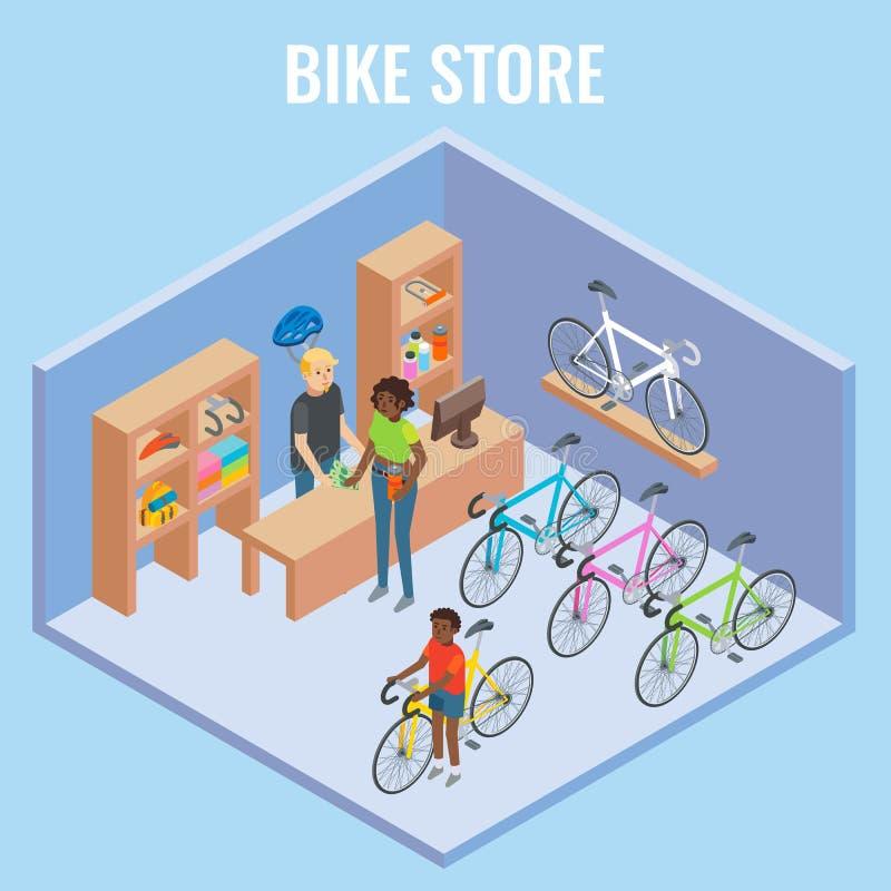 Διανυσματική τρισδιάστατη isometric απεικόνιση έννοιας καταστημάτων ποδηλάτων απεικόνιση αποθεμάτων