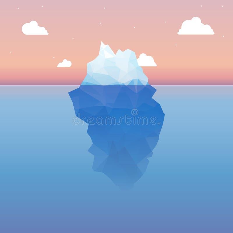 Διανυσματική τρισδιάστατη έννοια απεικόνισης παγόβουνων Επιτυχία, καθαρή μπλε κρύα θάλασσα ή ωκεάνια έννοια διανυσματική απεικόνιση
