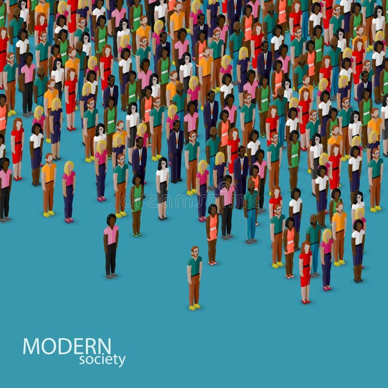 Διανυσματική τρισδιάστατη isometric απεικόνιση της κοινωνίας με ένα πλήθος των ανδρών και των γυναικών πληθυσμός αστική έννοια τρ διανυσματική απεικόνιση