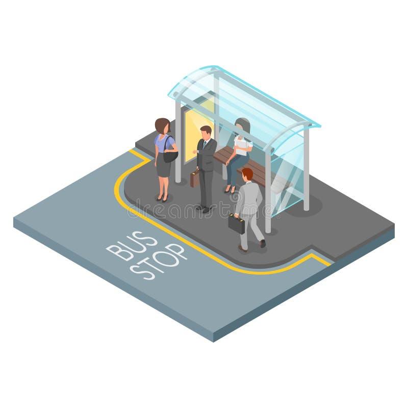 Διανυσματική τρισδιάστατη isometric απεικόνιση της στάσης λεωφορείου διανυσματική απεικόνιση