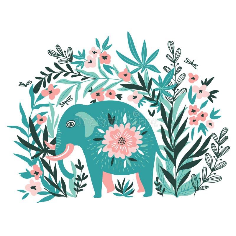 Διανυσματική τροπική τυπωμένη ύλη για την μπλούζα με τον ελέφαντα στη ζούγκλα απεικόνιση αποθεμάτων