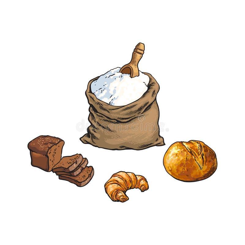 Διανυσματική τσάντα αλευριού σκίτσων, ψωμί, croissant σύνολο διανυσματική απεικόνιση