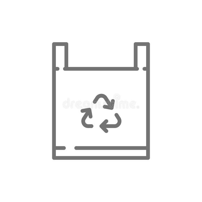 Διανυσματική τσάντα eco, εικονίδιο γραμμών αποβλήτων ανακύκλωσης ελεύθερη απεικόνιση δικαιώματος