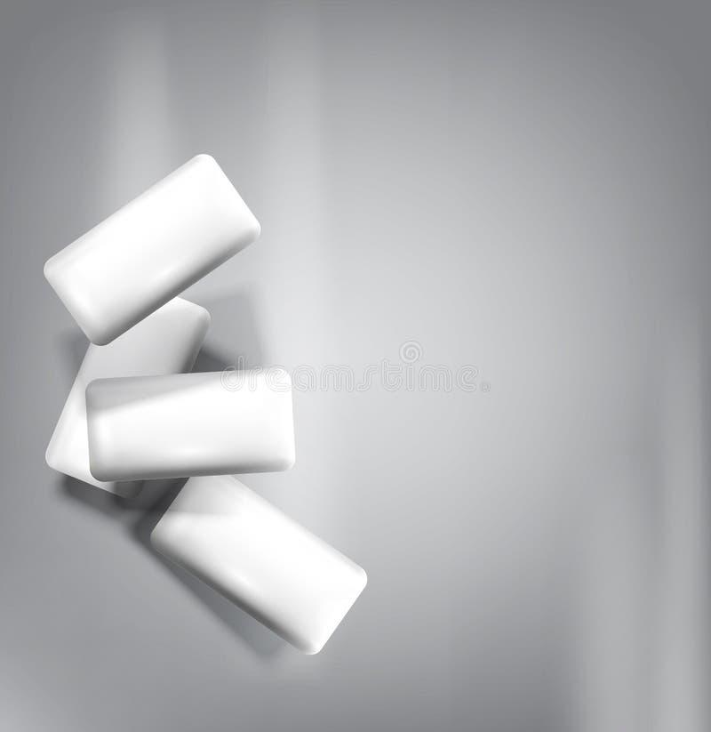 Διανυσματική τσίχλα που απομονώνεται σε ένα γκρίζο υπόβαθρο (μίμησης τρισδιάστατος) διανυσματική απεικόνιση