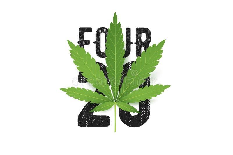 Διανυσματική τυπωμένη ύλη μπλουζών τέσσερις-είκοσι με το ρεαλιστικό φύλλο μαριχουάνα Εννοιολογική απεικόνιση πολιτισμού καννάβεων στοκ φωτογραφίες