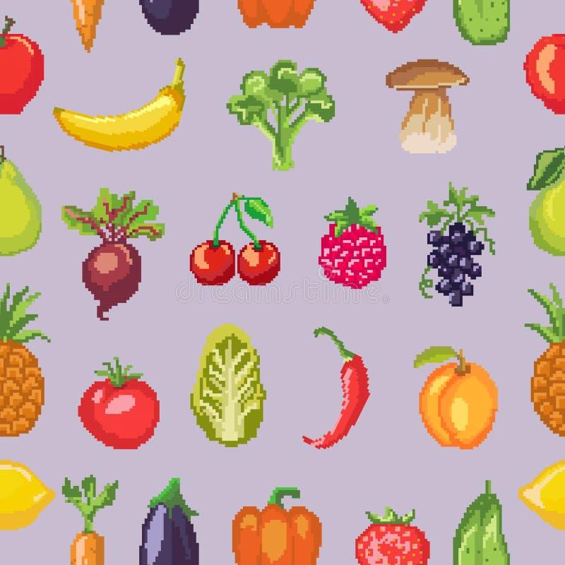 Διανυσματική υγιής διατροφή λαχανικών εικονοκυττάρου φρούτων της fruity μπανάνας και vegetably του καρότου μήλων για την κατανάλω ελεύθερη απεικόνιση δικαιώματος
