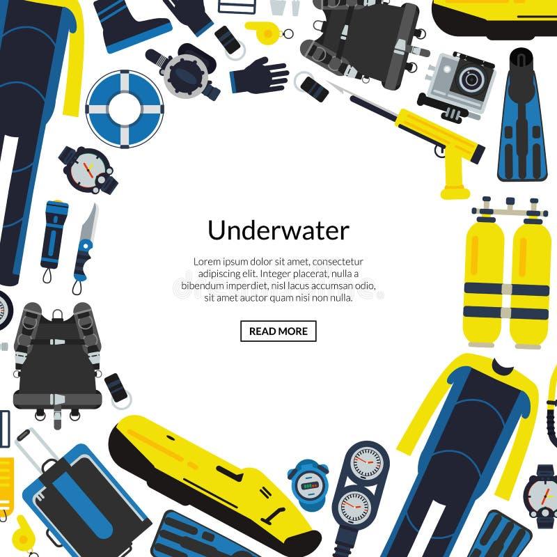 Διανυσματική υποβρύχια απεικόνιση εξοπλισμού κατάδυσης διανυσματική απεικόνιση