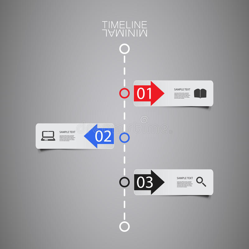Διανυσματική υπόδειξη ως προς το χρόνο Infographic - πρότυπο σχεδίου εκθέσεων με τις ετικέτες απεικόνιση αποθεμάτων