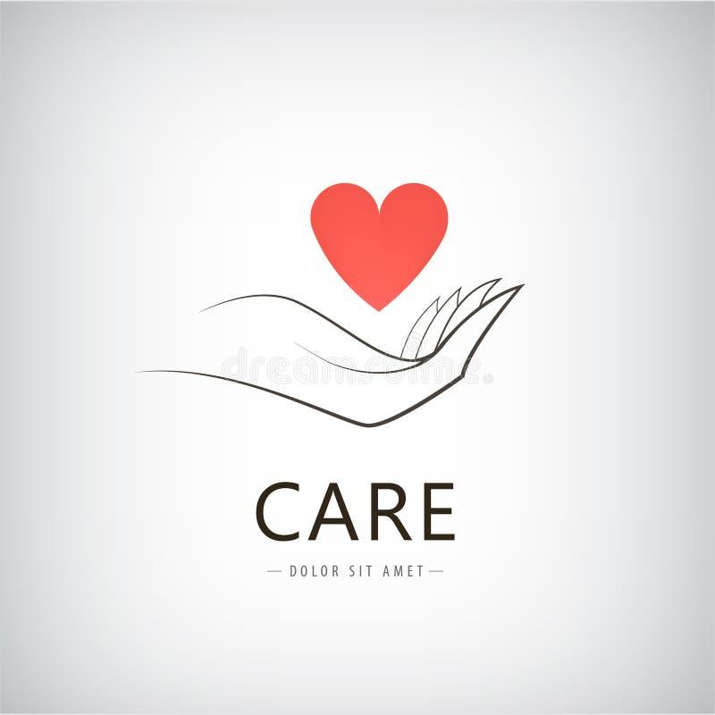 Διανυσματική φιλανθρωπία, ιατρική, προσοχή, λογότυπο βοήθειας, εικονίδιο διανυσματική απεικόνιση