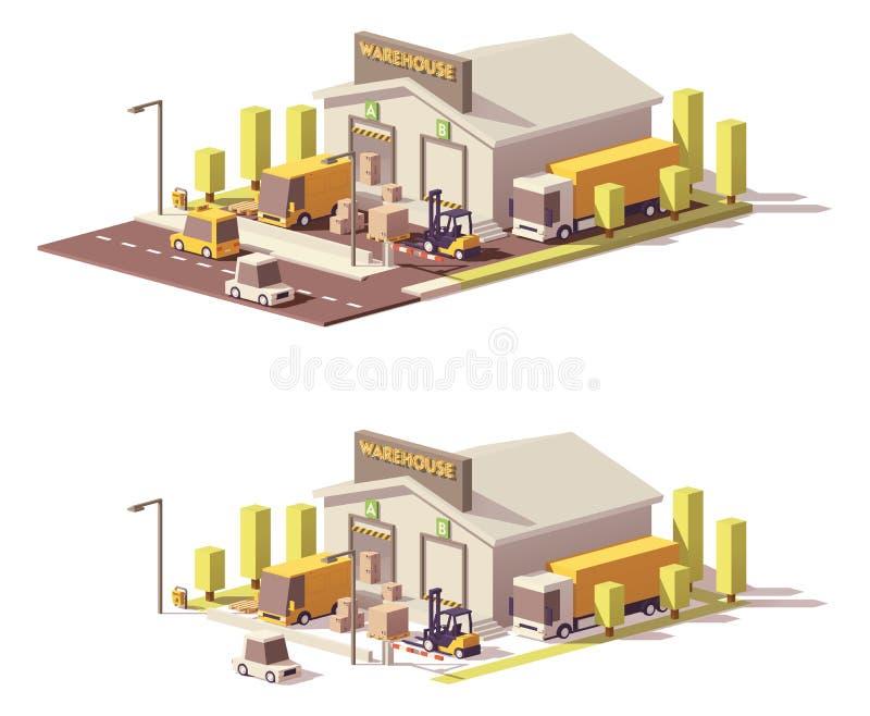 Διανυσματική χαμηλή πολυ αποθήκη εμπορευμάτων απεικόνιση αποθεμάτων