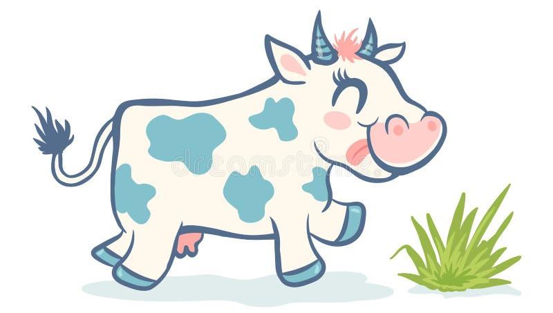 Διανυσματική χαριτωμένη αγελάδα στο ύφος kawaii διανυσματική απεικόνιση