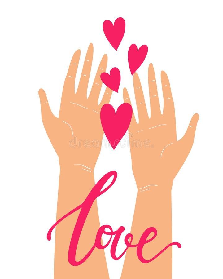 Διανυσματική χαριτωμένη απεικόνιση με δύο χέρια που κρατά τις καρδιές απομονωμένες στο άσπρο υπόβαθρο Ρομαντική ευχετήρια κάρτα η ελεύθερη απεικόνιση δικαιώματος