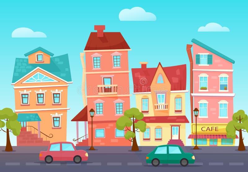Διανυσματική χαριτωμένη οδός κινούμενων σχεδίων μιας ζωηρόχρωμης πόλης με τα καταστήματα διανυσματική απεικόνιση