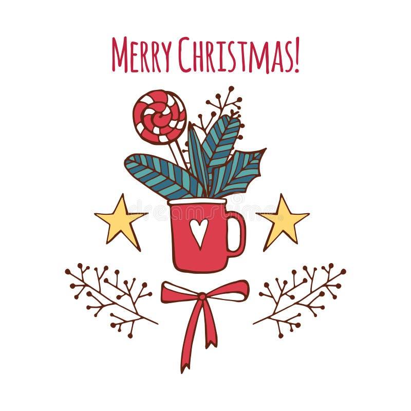 Διανυσματική Χαρούμενα Χριστούγεννα και ευχετήρια κάρτα καλής χρονιάς που τίθεται με τη χαριτωμένη γλυκιά καραμέλα και συρμένη τη διανυσματική απεικόνιση